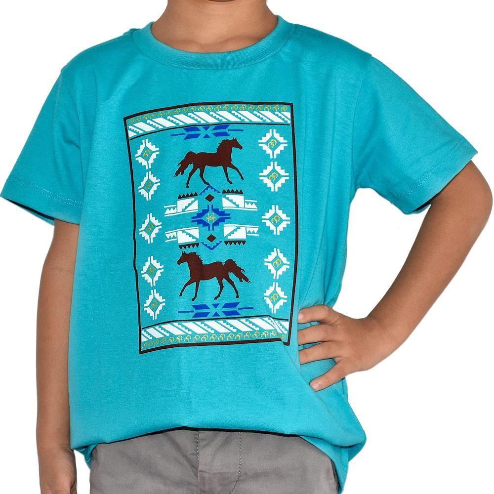 Camiseta Infantil Cowboys Turquesa Cavalinhos e Arabescos