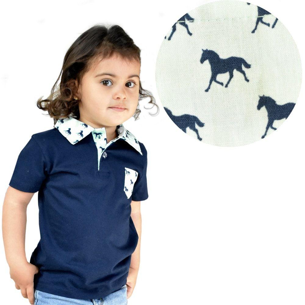 Camiseta Infantil Feminina Polo Cavalinhos