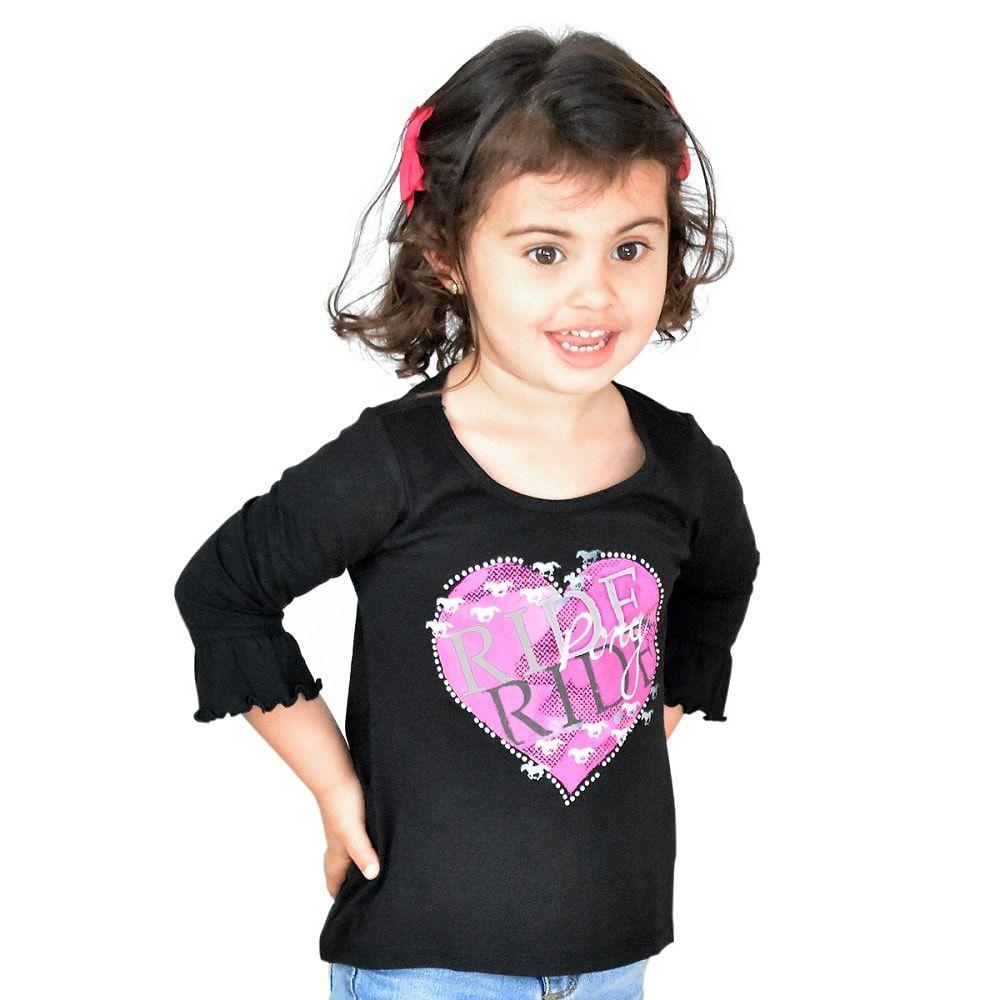 Blusa Infantil Manga Longa Importada Preta Coração Rosa
