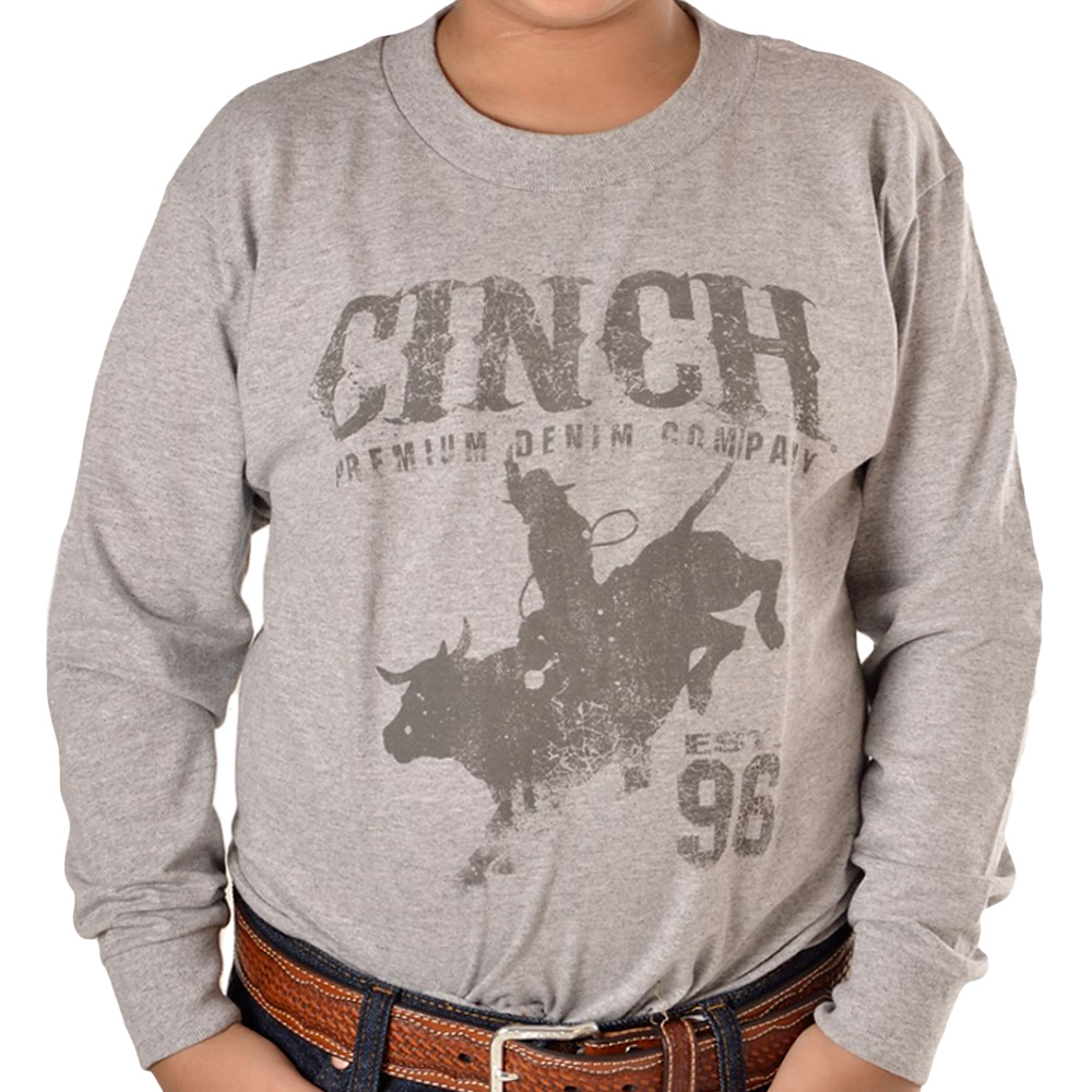 Camiseta Infantil Manga Longa Cinch Cinza