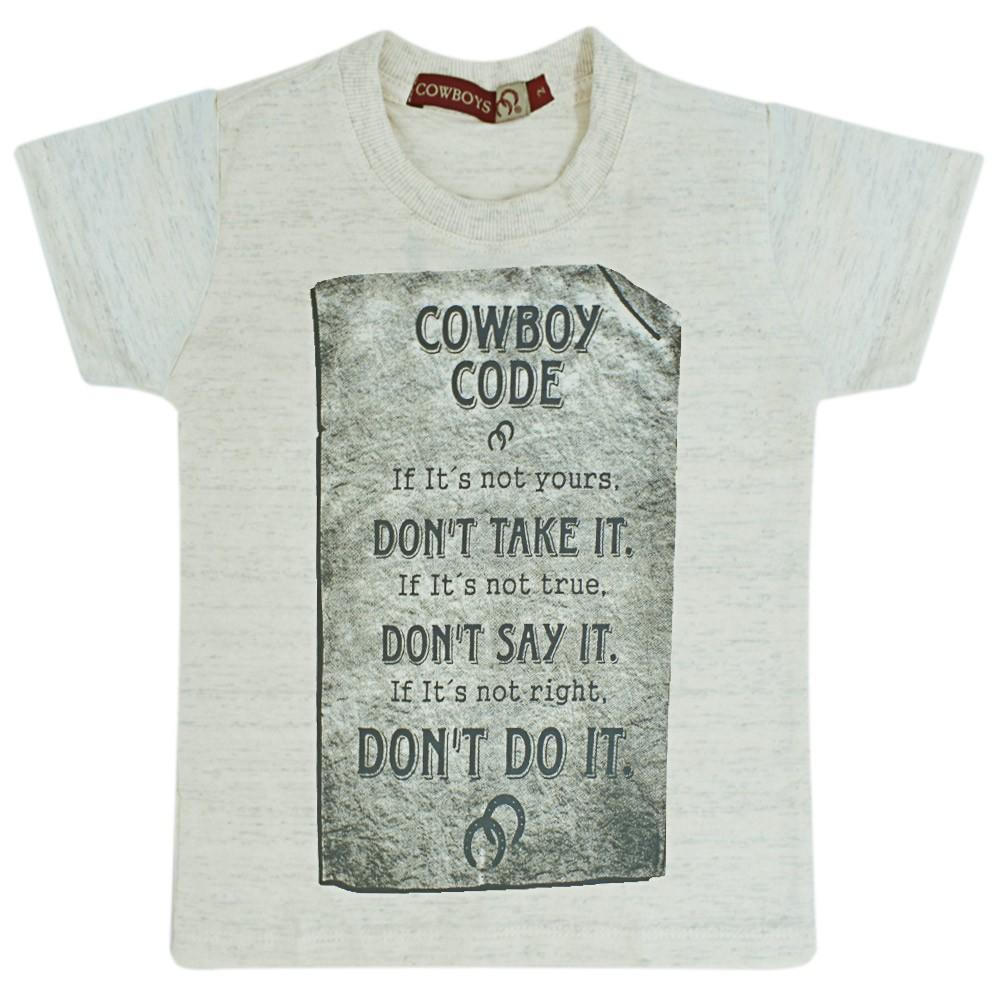 Camiseta Infantil Pai e Filho Bege Mescla Cowboys Código de Cowboy