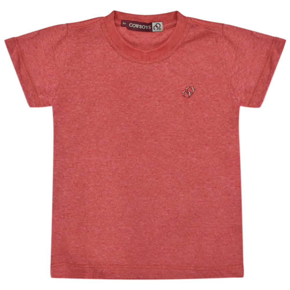 Camiseta Infantil Pai e Filho Vermelha Mescla Cowboys Bordado Ferraduras