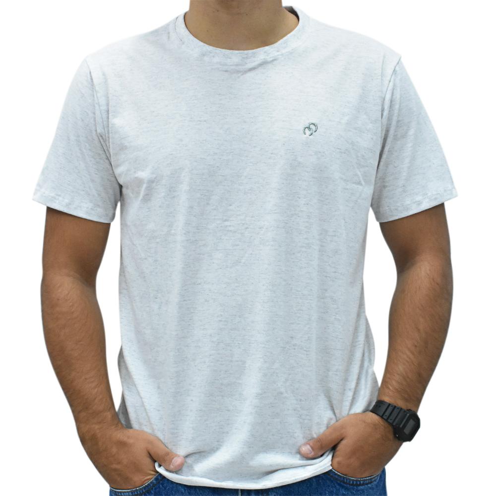 Camiseta Masculina Cowboys Cinza Mescla Bordado Ferraduras