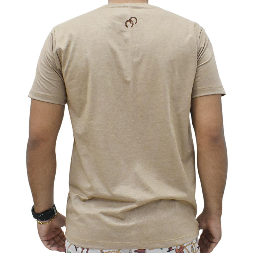 Camiseta Masculina Cowboys Marrom Mescla Cavaleiros e Ferraduras