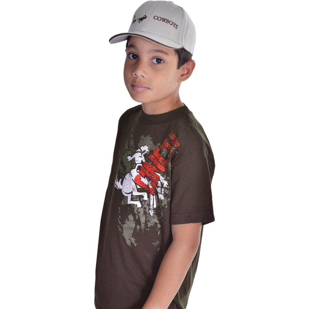 Camiseta Masculina Infantil Cinch Marrom