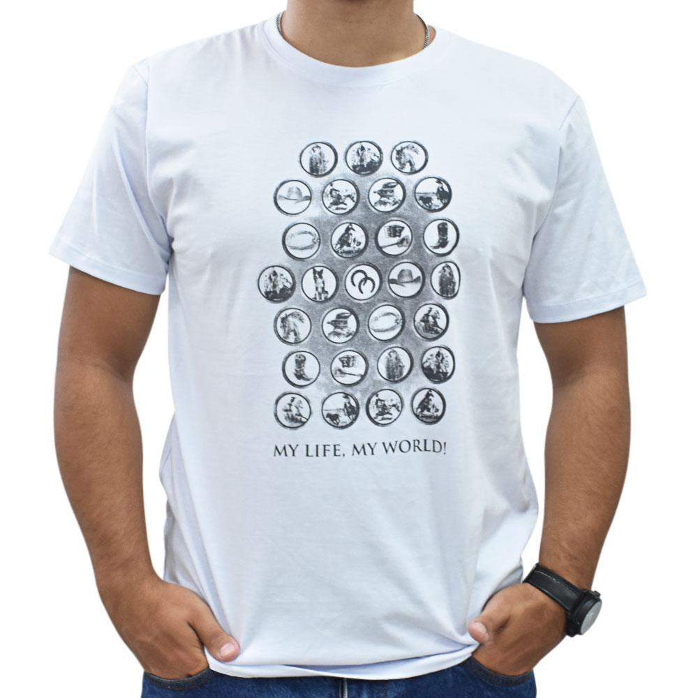 Camiseta Masculina Pai e Filho Cowboys Branca Mundo Country