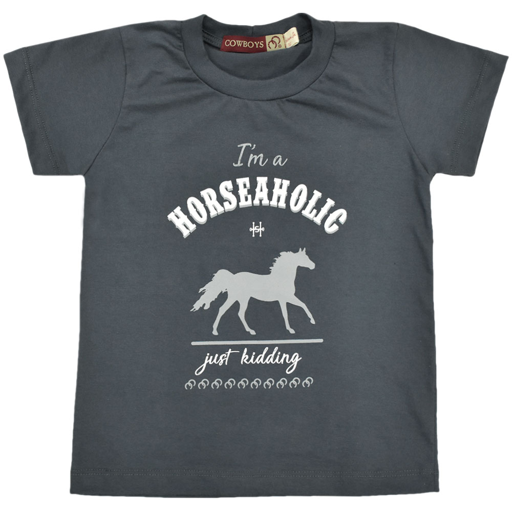 Camiseta Masculina Pai e Filho Cowboys Cinza Grafite Horseaholic