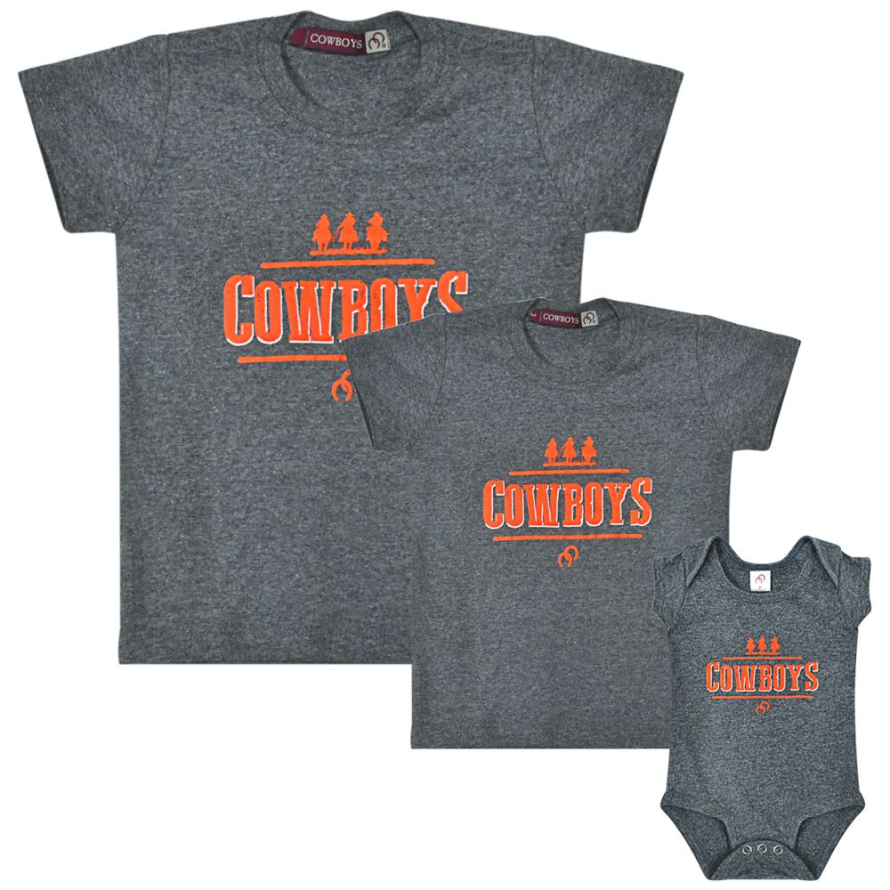 Camiseta Masculina Pai e Filho Cowboys Cinza Mescla Cavaleiros e Ferraduras