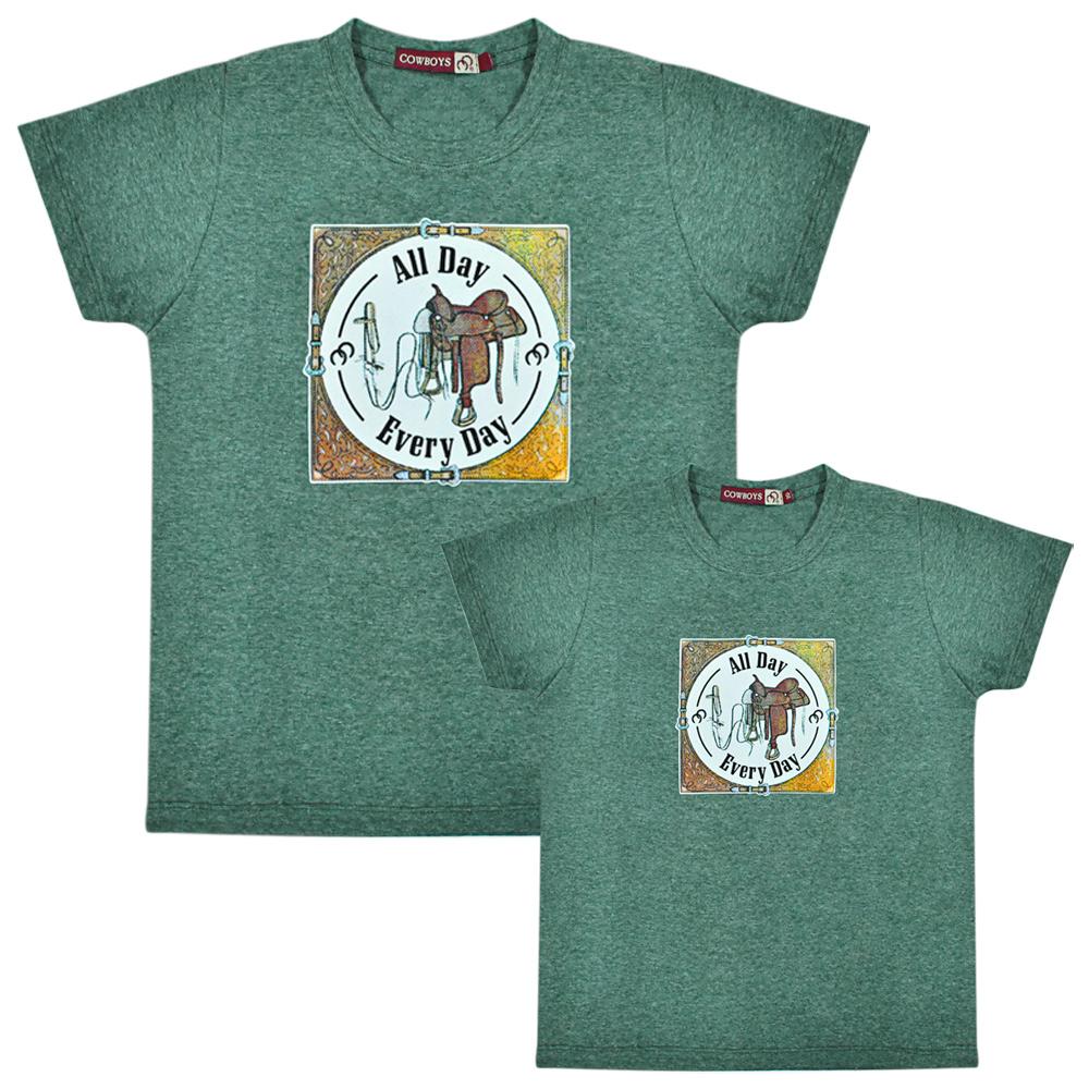 Camiseta Masculina Pai e Filho Cowboys Verde Mescla Every Day
