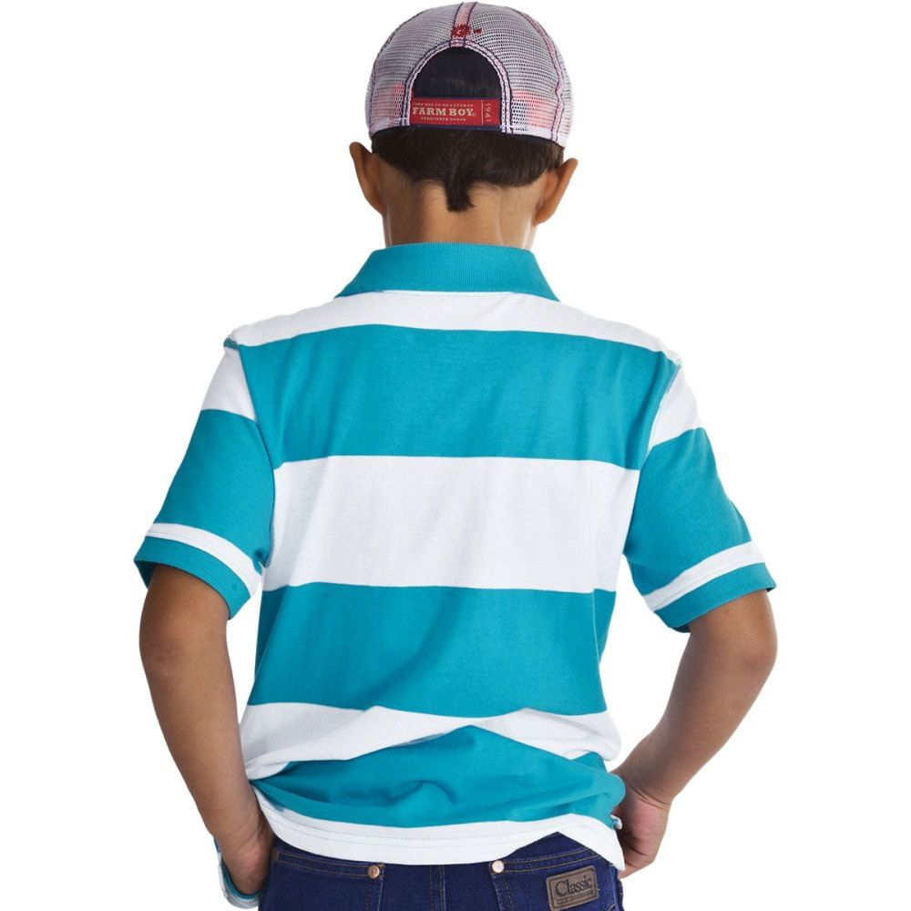Camiseta Polo Infantil Listrada em Azul Wrangler