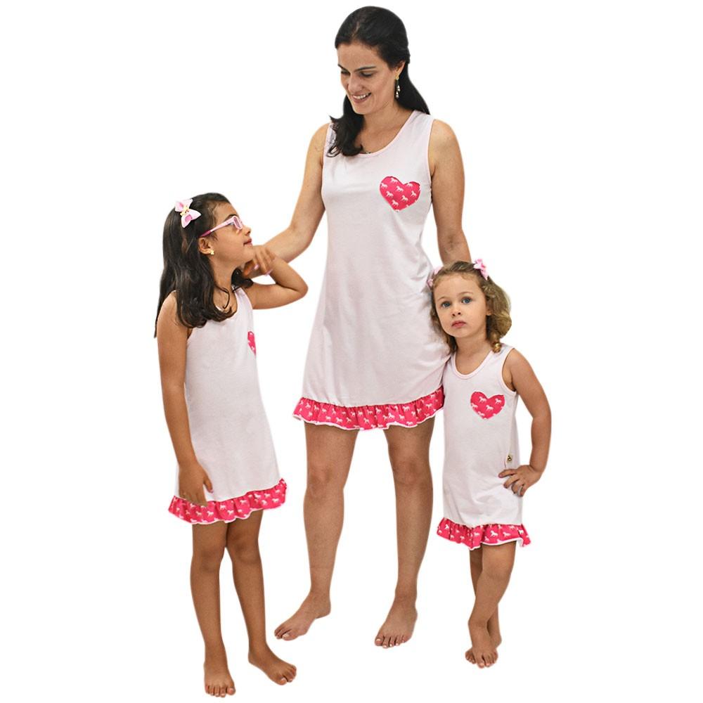 Camisola Feminina Mãe e Filha Rosa com Pink Cowboys Coração e Cavalinhos