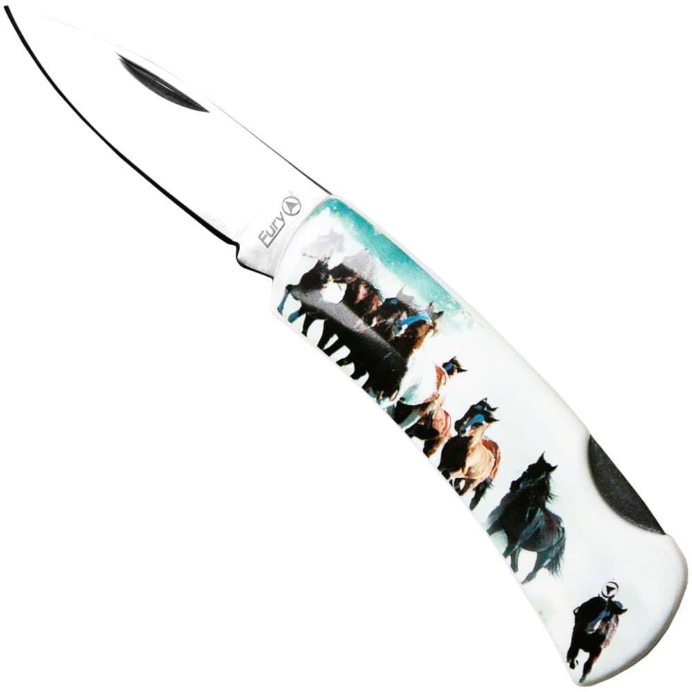 Canivete Importado Lâmina Lisa Horses Troop