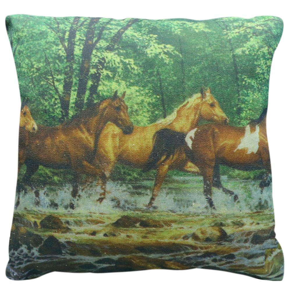 Capa Para Almofada Cavalos no Rio Grande Quadrada Cowboys