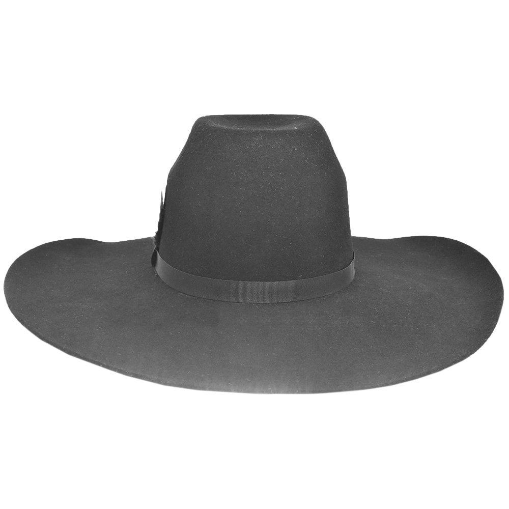 Chapéu de Feltro Preto com Pena Vermelha e Preta