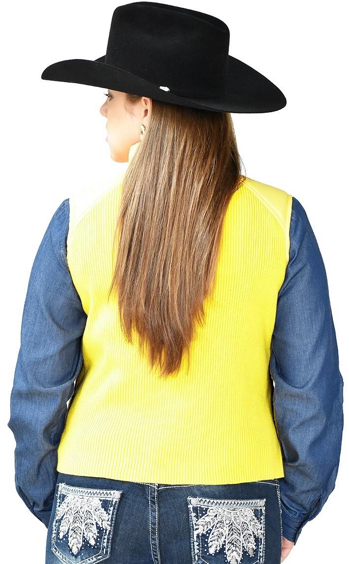 Colete Feminino Amarelo Poliéster com Zíper
