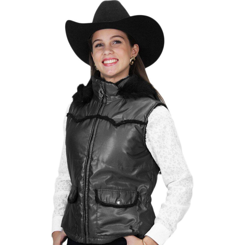 Colete Feminino Cowgirl Up Cinza com Capuz