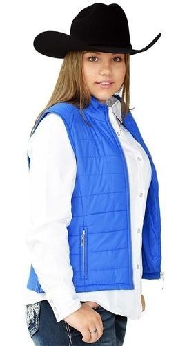 Colete Feminino Importado Azul em Nylon com Zíper