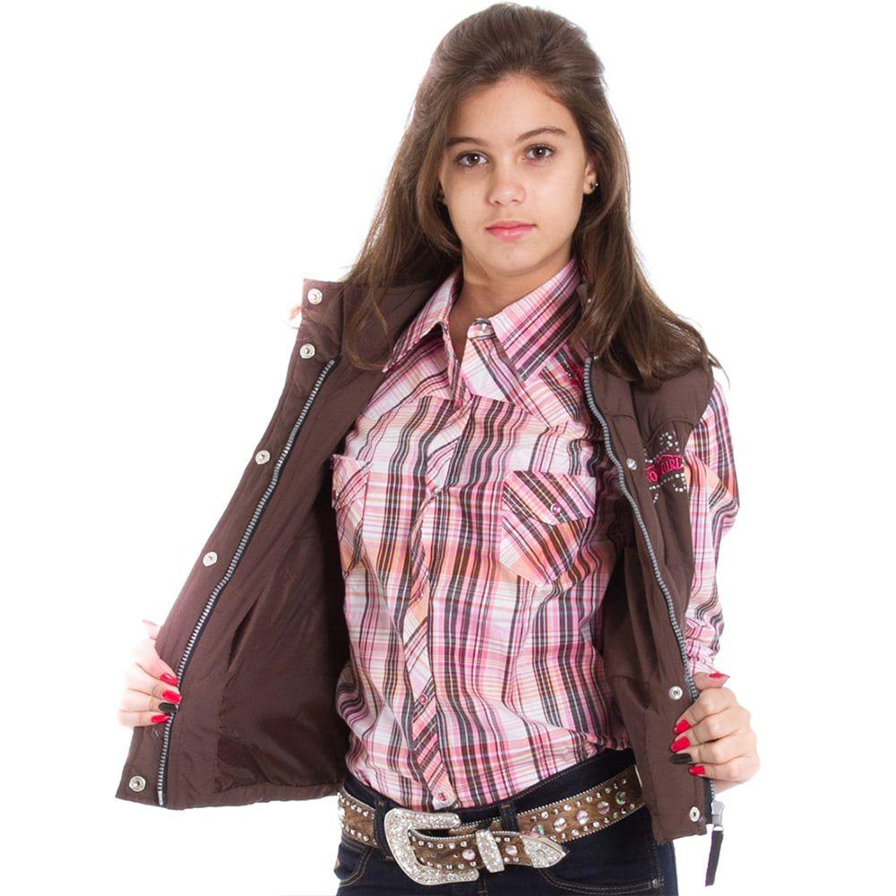 Colete Infanto-Juvenil Cowgirl Marrom com Strass