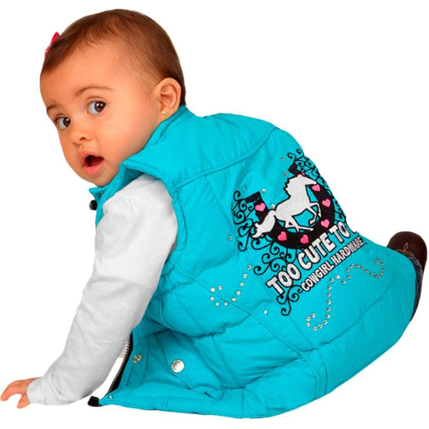 Colete Infantil Importado Nylon Bordado Cowgirl