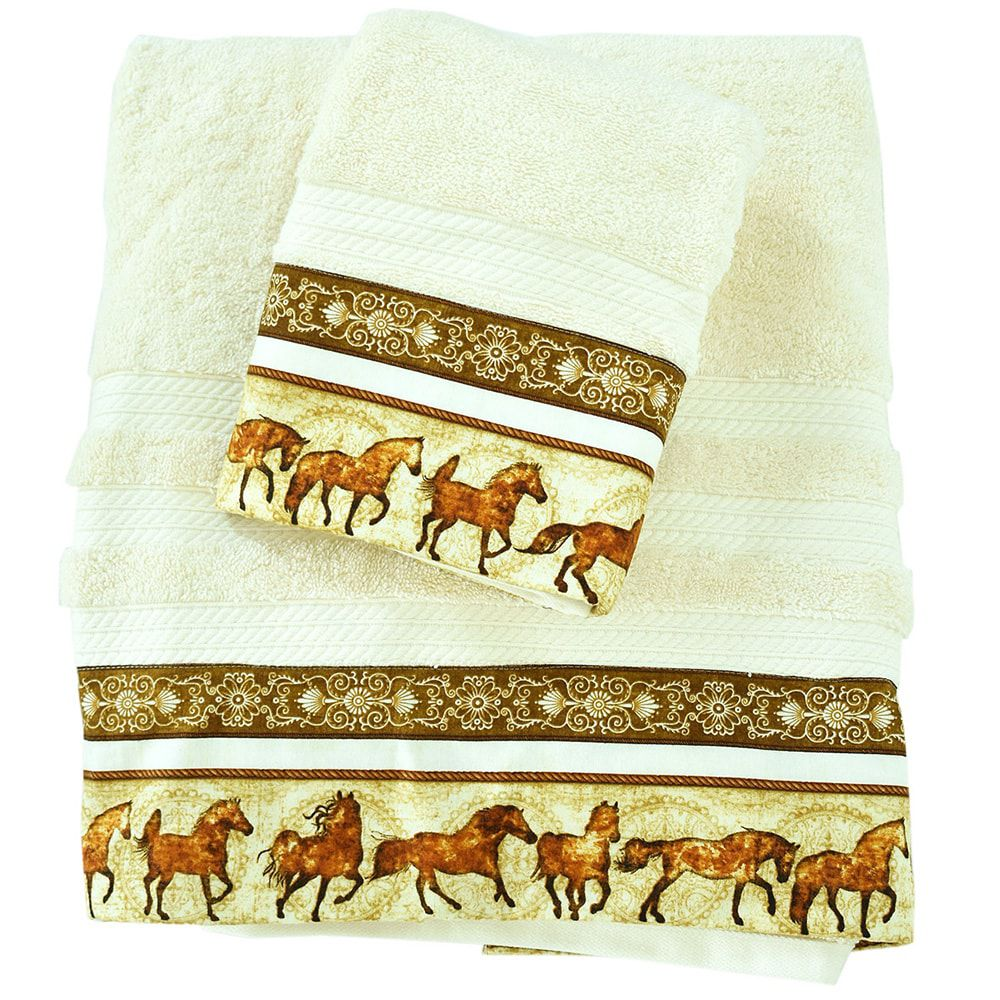 Conjunto de Toalhas Banho e Rosto Barrado Brown Horse