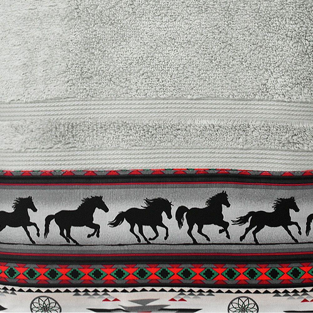 Jogo de Toalhas de Banho e Rosto Cinza Navajo