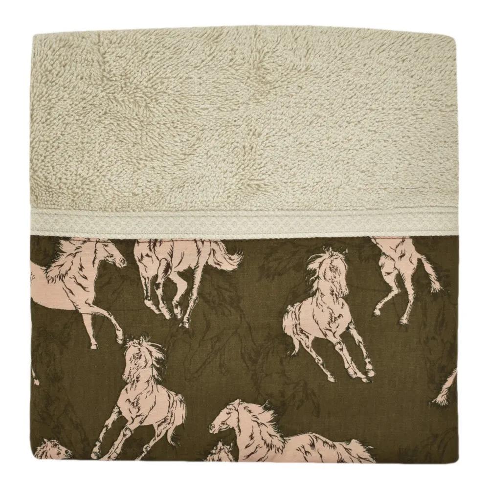 Jogo de Toalhas de Banho e Rosto Bege Cavalos