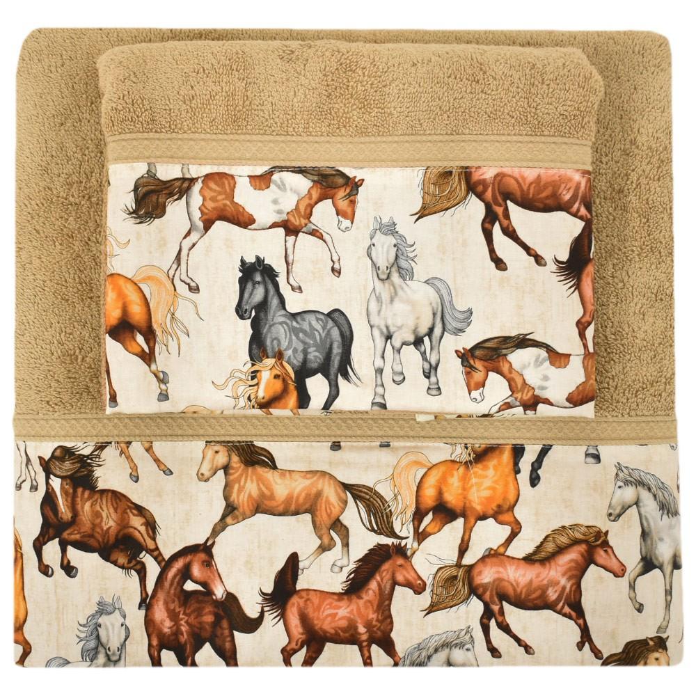 Conjunto de Toalhas de Banho e Rosto Marrom Cavalos