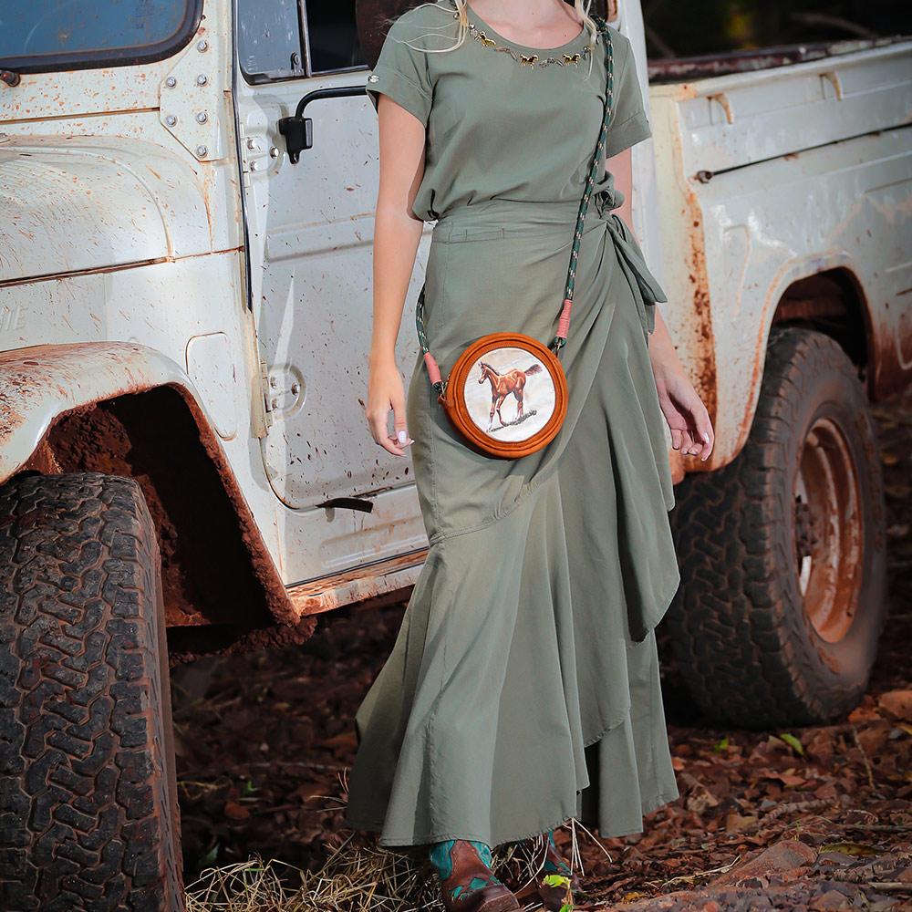 Conjunto Feminino Blusinha e Saia Longa Transpassada Cowboys Verde Militar