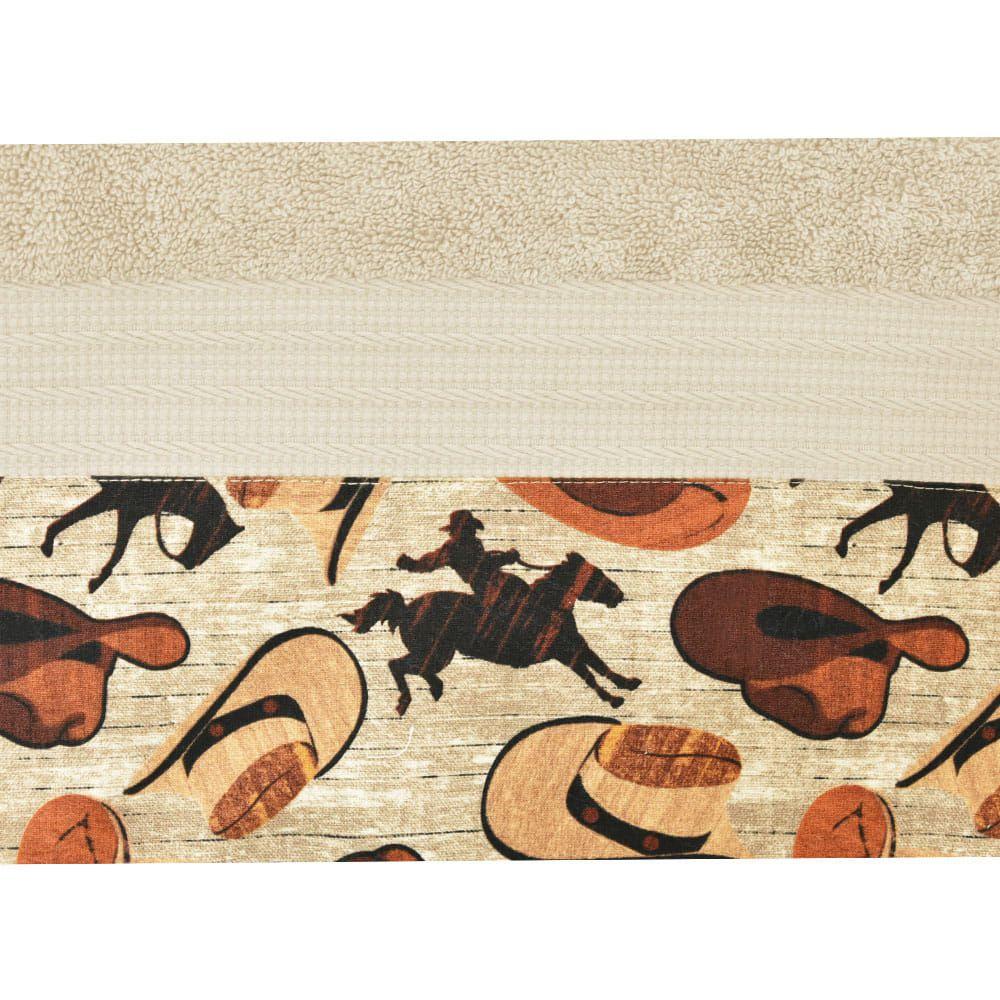 Conjunto de Toalhas de Banho e Rosto Bege Cavaleiro e Chapéu