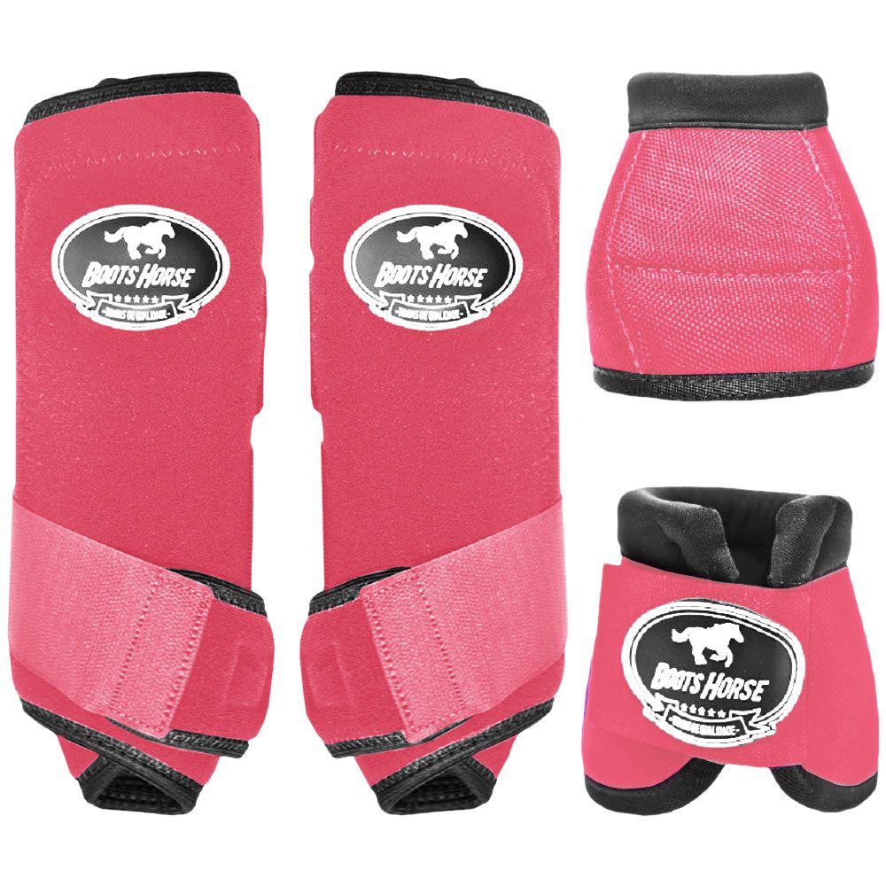 Conjunto Ventrix Boots Horse Caneleira e Cloche Rosa