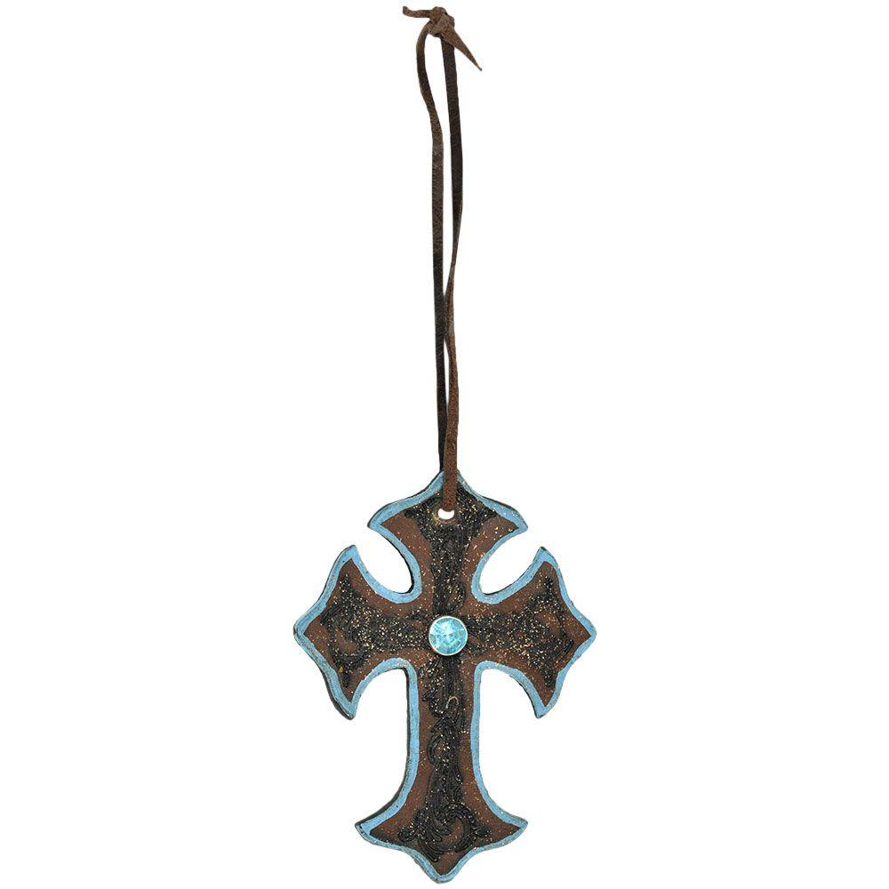 Cruz de Couro com Detalhes Turquesa