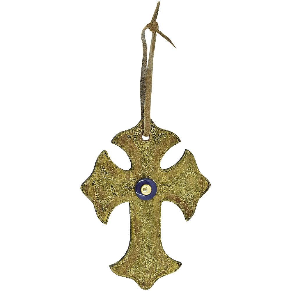 Cruz de Couro Dourado com Botão Azul