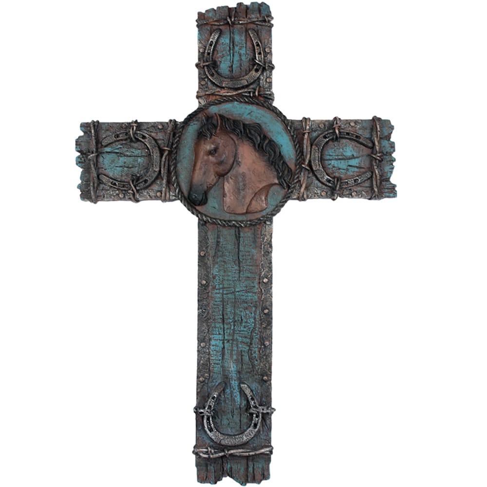 Cruz Decorativa Cavalo Marrom