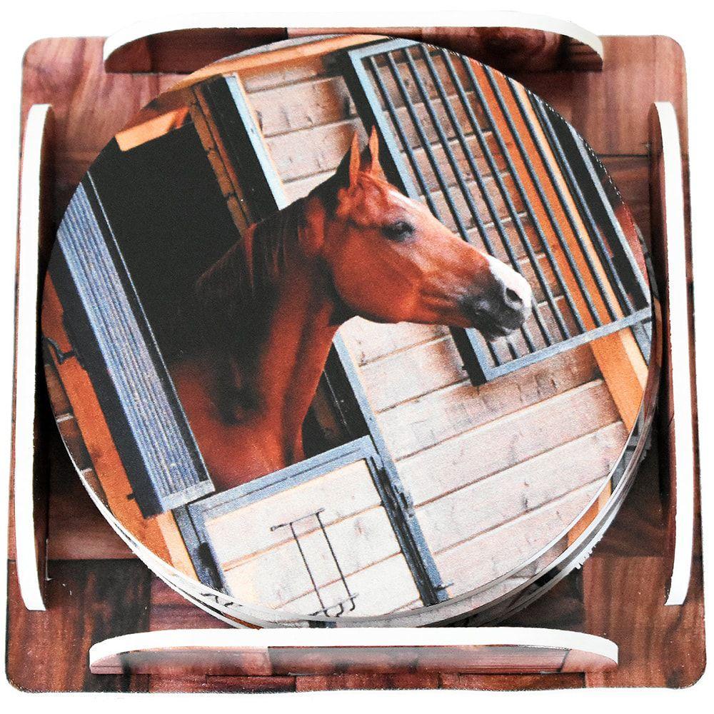 Descanso de Copo Redondo 6 peças Cavalo na Janela da Baia