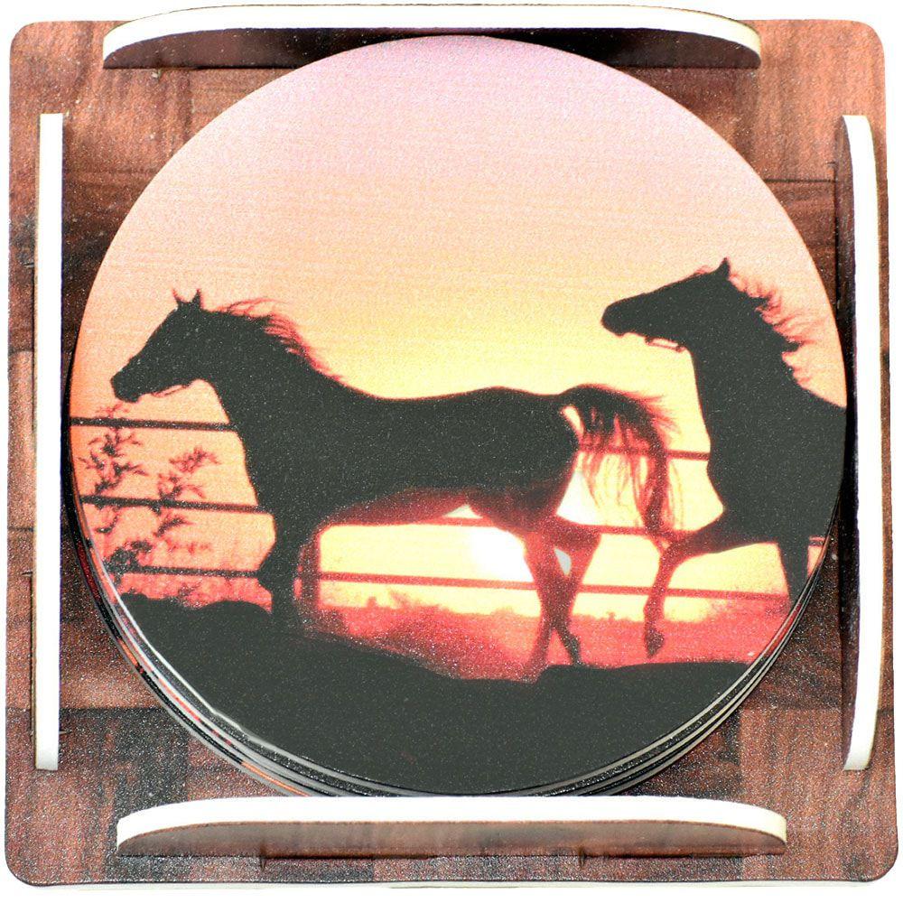 Descanso de Copo Redondo 6 peças Cavalos ao Pôr do Sol