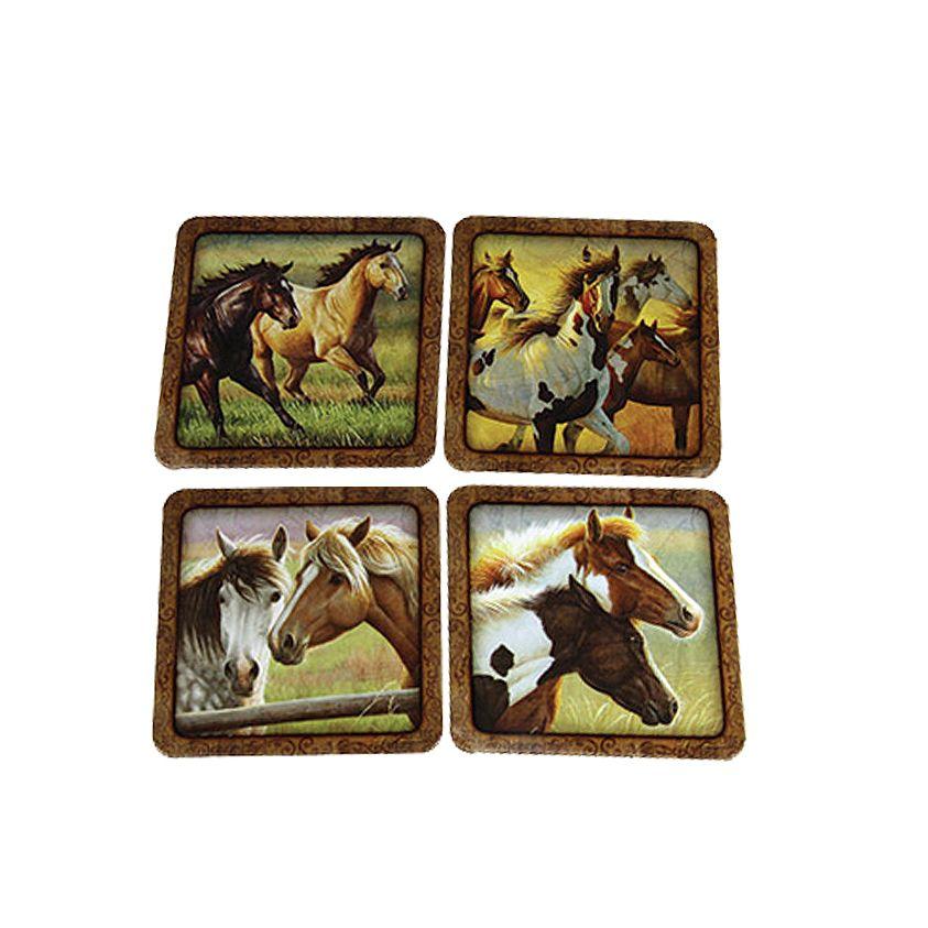 Descanso de Copo Quadrado 4 Peças Cavalos