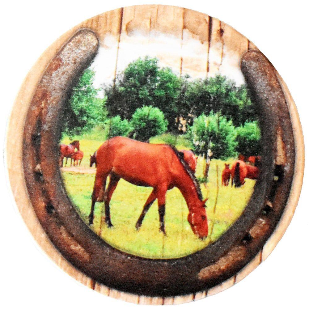 Descanso de Copo Redondo 4 Peças Lindos Cavalos