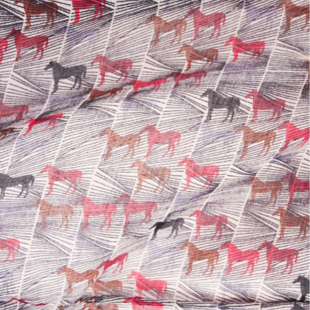 Echarpe Echarpe Feminino Importado Fechado Cinza com Cavalos