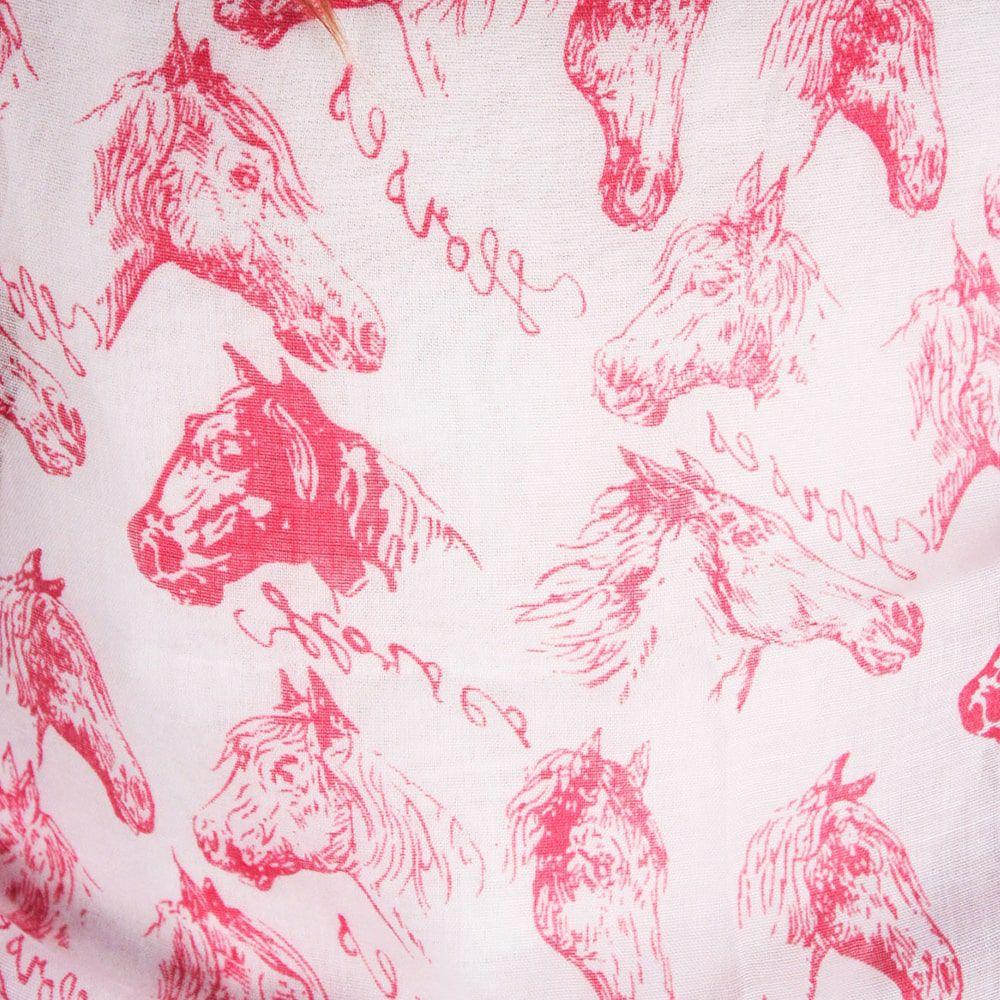 Echarpe Feminino Importado Branca Estampa de Cavalo
