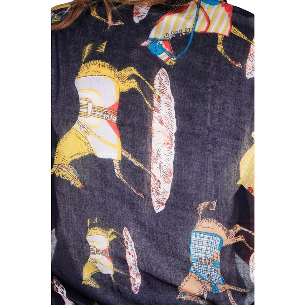 Echarpe Feminino Importado Horse Country Azul Marinho