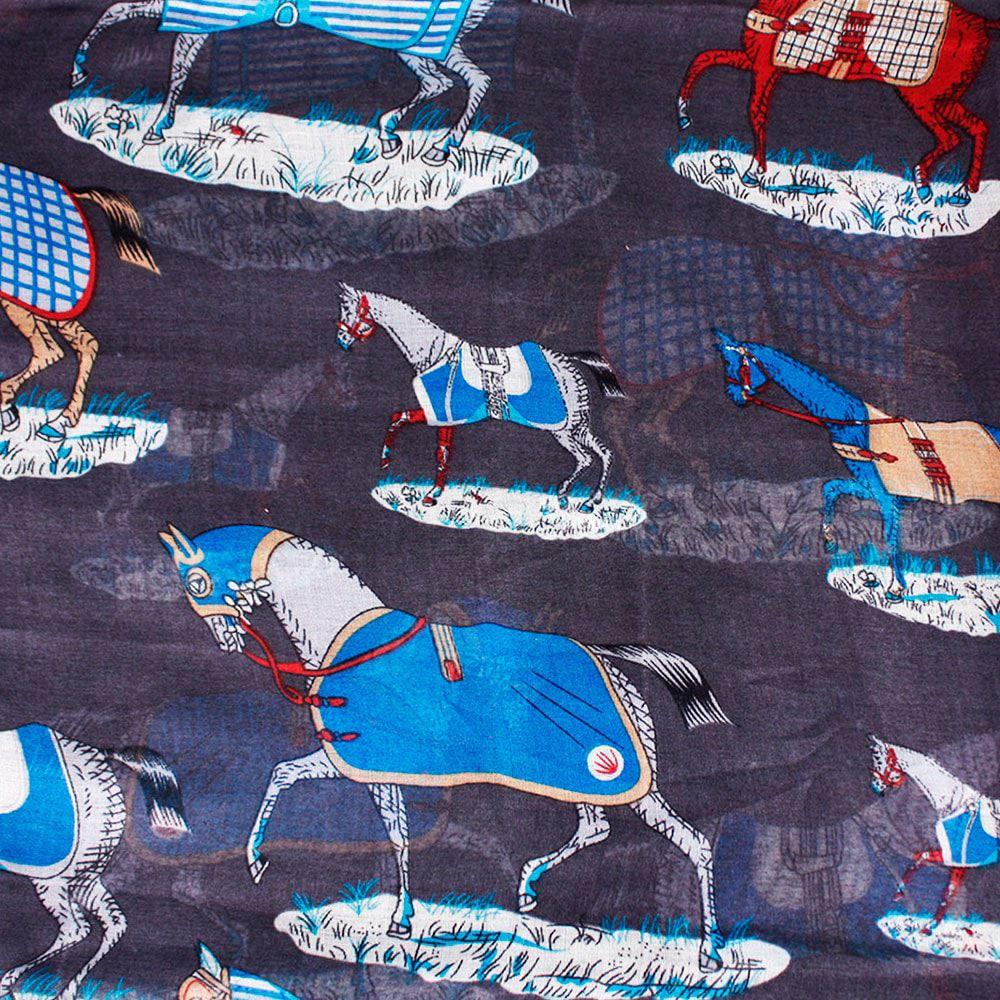 Echarpe Feminino Importado Horse Country Chumbo