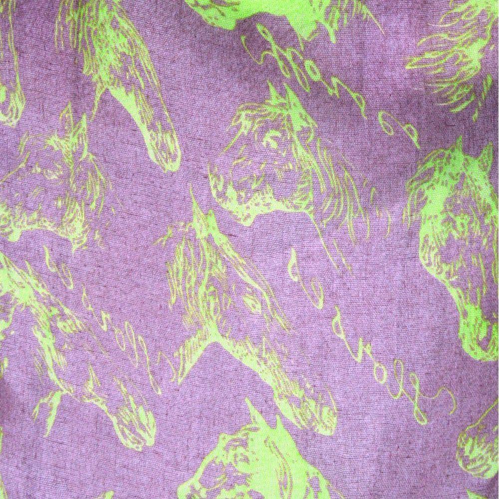 Echarpe Feminino Importado Roxo Green Horses