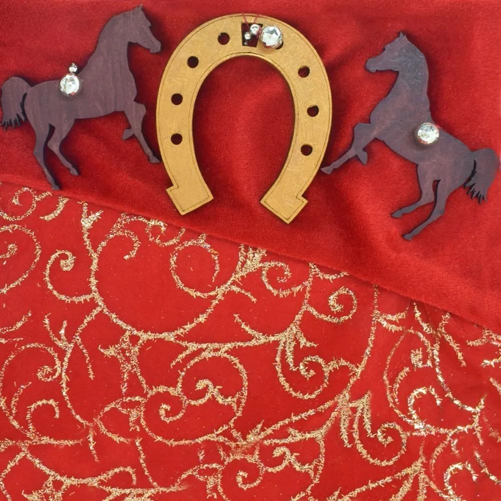 Enfeite de Natal Country Bota Vermelha com Cavalos e Ferradura