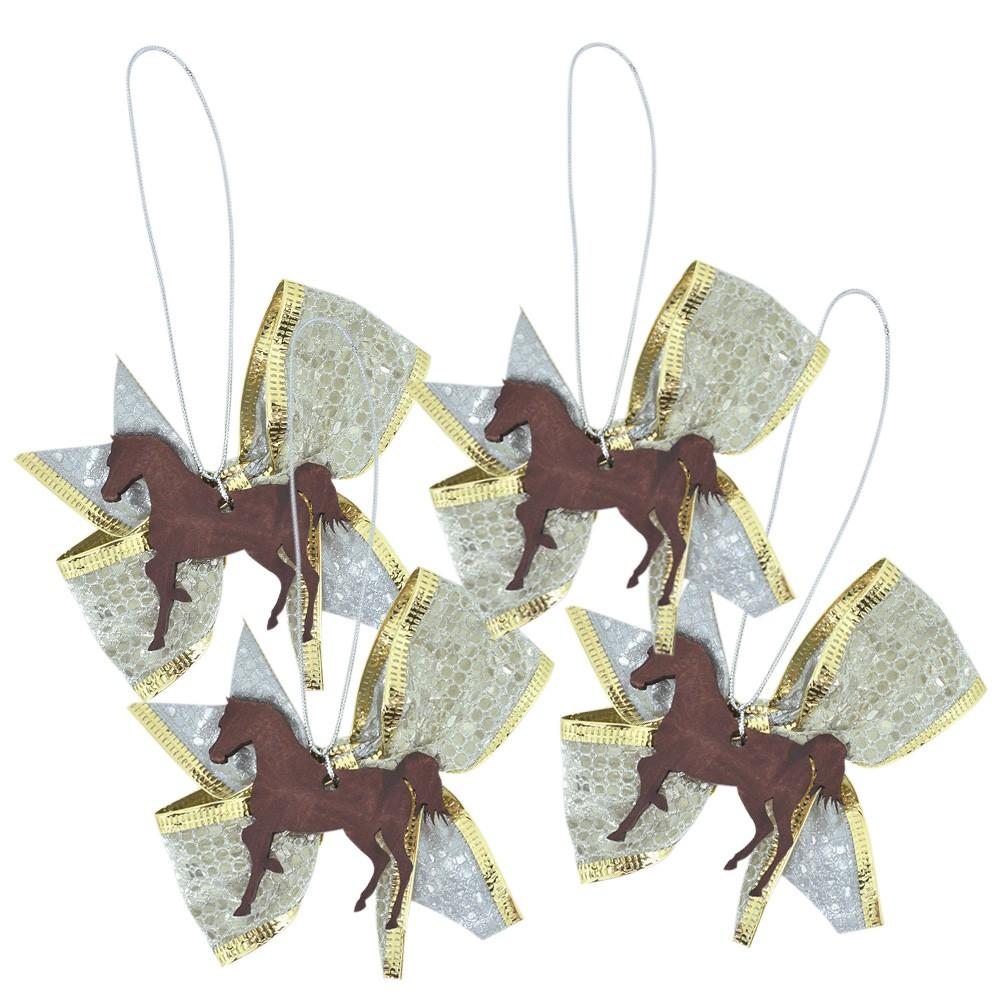 Enfeite de Natal Country Kit 4 Laços Cavalo Marrom
