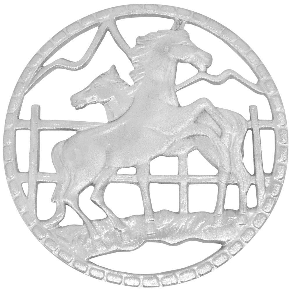 Descanso Para Travessa Importado Cavalos Na Cerca Prateada