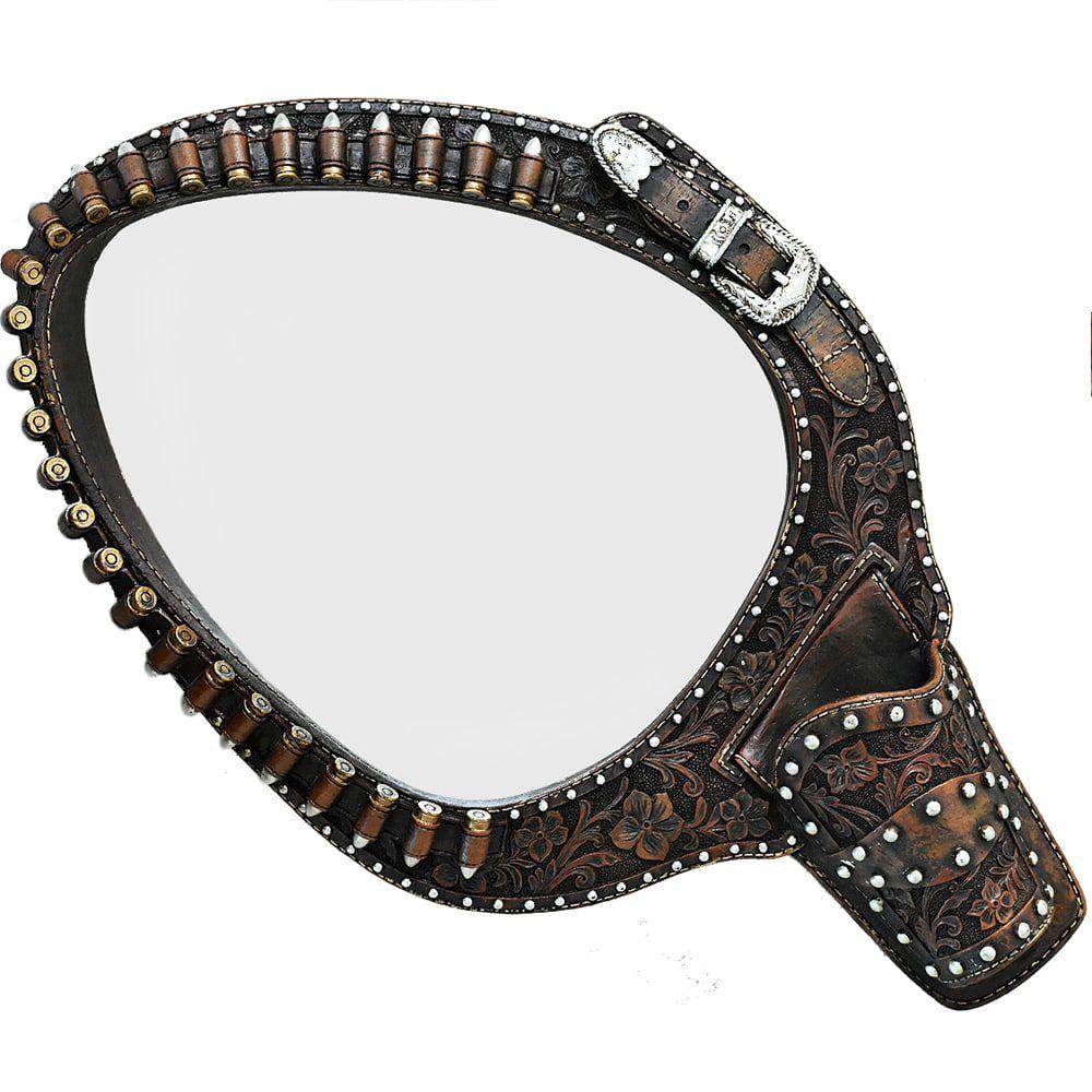 Espelho Moldura Resina Endurecida Coldre e Revolver