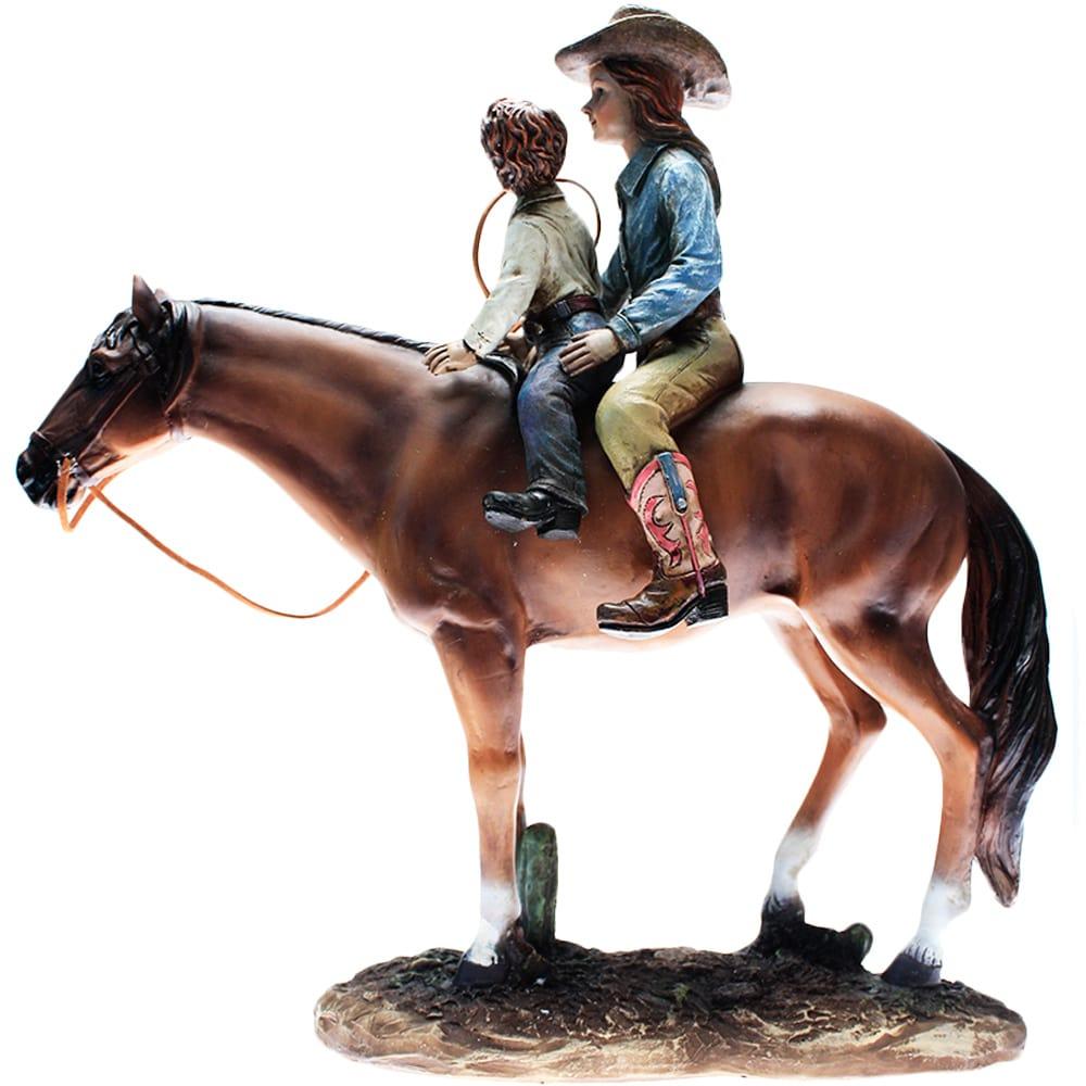 Estátua Cavalo Cowgirl e seu Filho
