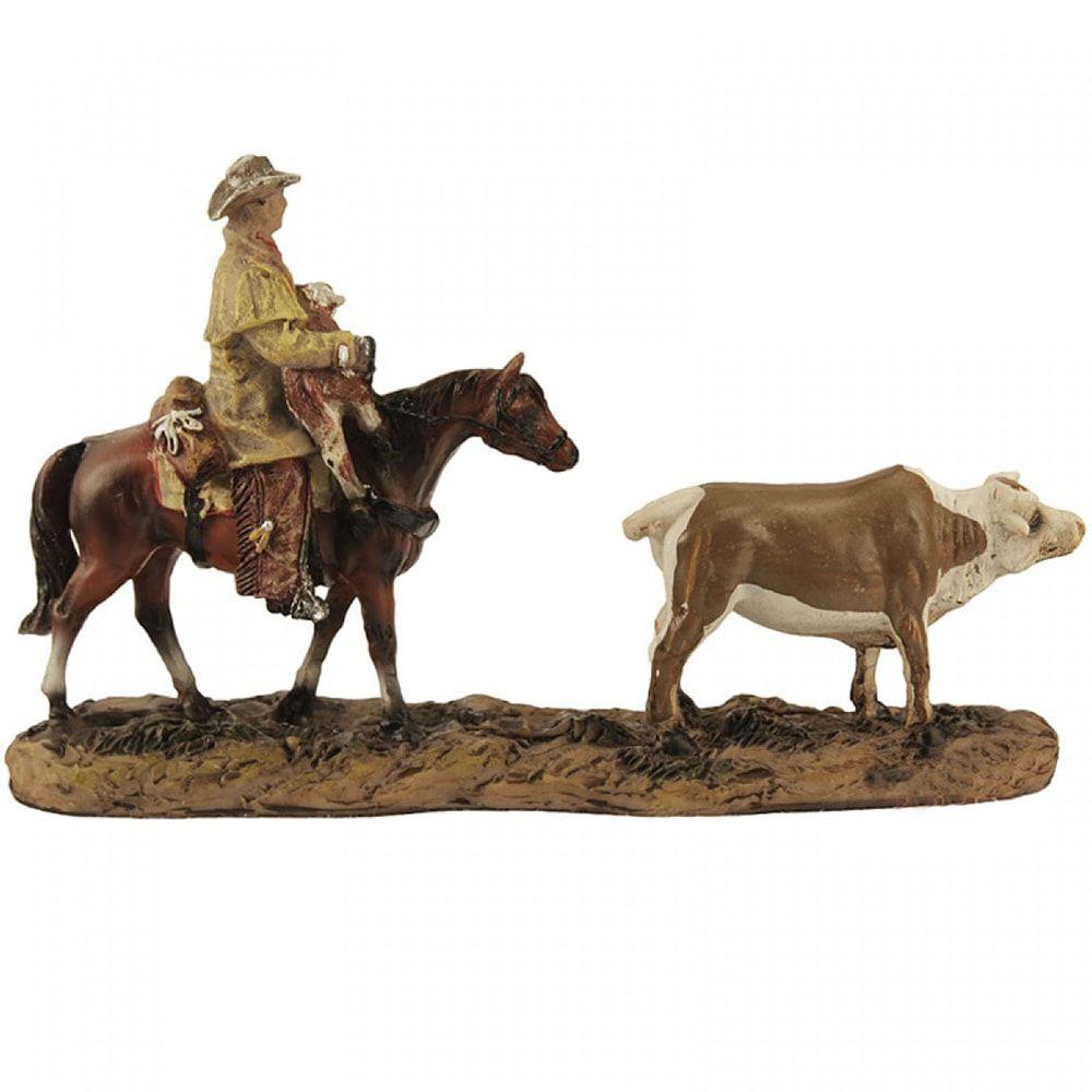 Estátua Cowboy e Seus Animais