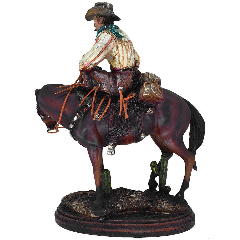 Estatua Importado em Resina Cowboy e seu Cavalo