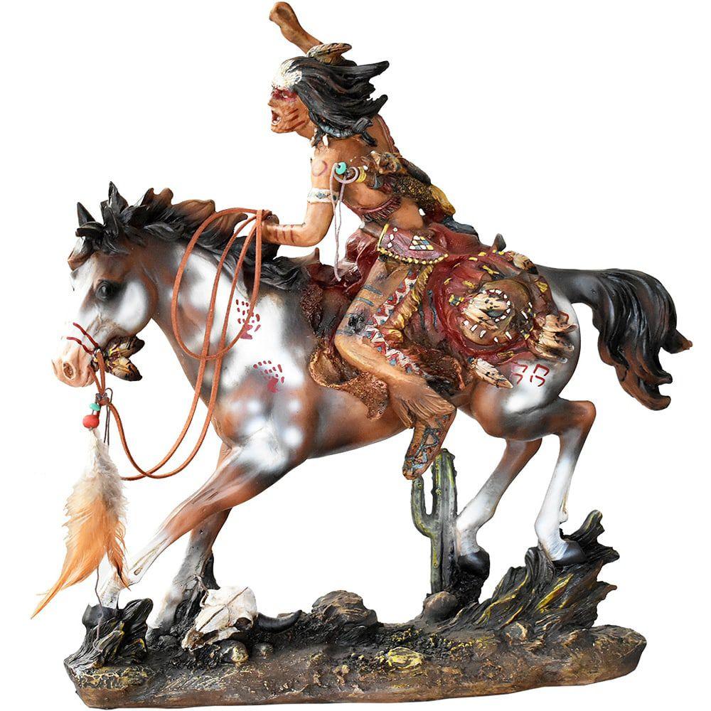 Estátua Indio em Seu Cavalo Guerreiro